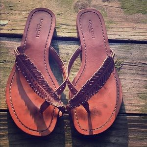 Coach leather feather sandals size 6